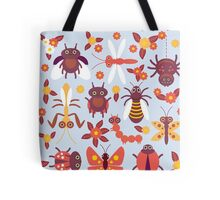 Funny insects Spider butterfly caterpillar dragonfly mantis beetle wasp ladybugs  Tote Bag