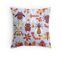 Funny insects Spider butterfly caterpillar dragonfly mantis beetle wasp ladybugs  Throw Pillow