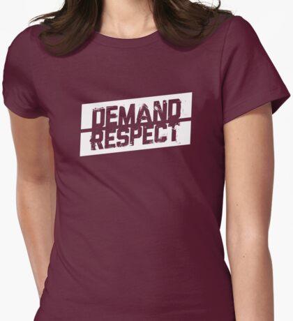 Demand Respect - Tilt White Womens Fitted T-Shirt