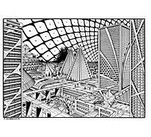 Line drawing, Future city. Photographic Print