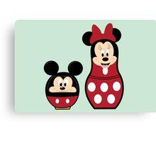 Mickey Daruma & Minnie Matrioshka Canvas Print