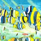 A shoal of double saddle back butterfly fish. by doatley