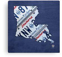 Louisiana License Plate Map Canvas Print