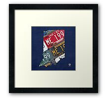 Indiana License Plate Map Framed Print