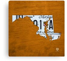 Maryland License Plate Map Canvas Print