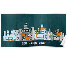 Miami Skyline License Plate Art Poster