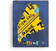 Maine License Plate Map Canvas Print