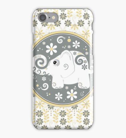 white elephant daisy floral in yellow, grey, white iPhone Case/Skin