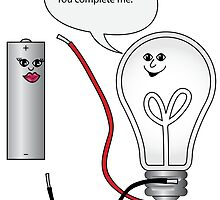 "geeky ""you complete me"" complete electrical circuit  by wasootch"