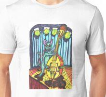 Blue Cat Playing Bass Cello Music Unisex T-Shirt