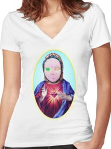 our lady of ornacia Women's Fitted V-Neck T-Shirt
