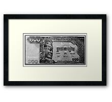 ©HS Cambodia 100 Riels IA Monochromatic Framed Print