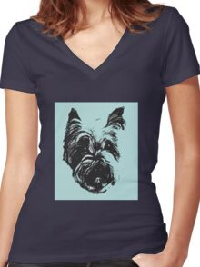 Westie Wonder Graphic ~ black and sea green Women's Fitted V-Neck T-Shirt