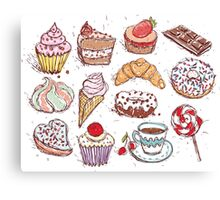 Hand drawn confectionery seamless pattern croissant Cupcake candy marshmallow ice cream cake donut and coffee Canvas Print