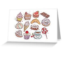 Hand drawn confectionery seamless pattern croissant Cupcake candy marshmallow ice cream cake donut and coffee Greeting Card