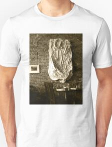 Farmer's Cafe Brick Wall Vintage Style Black and White Photograph T-Shirt