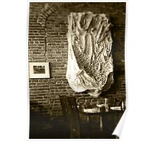 Farmer's Cafe Brick Wall Vintage Style Black and White Photograph Poster