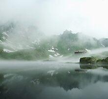 Foggy lake, Fagaras by Sandra Kemppainen