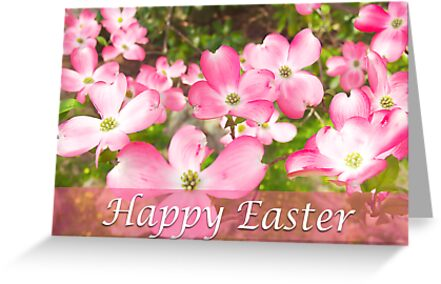 Happy Easter Pink Flower Dogwood Tree by daphsam