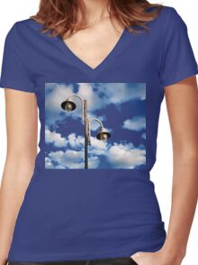 Urban landscape with lamppost  Women's Fitted V-Neck T-Shirt