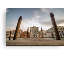 Venice Docks with Canals of Venice Italy Canvas Print