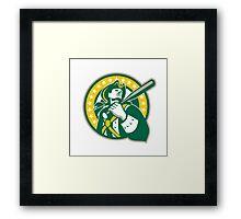 American Patriot Baseball Player Green Gold Retro Framed Print