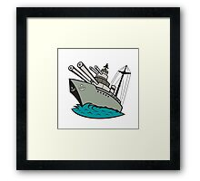 World War Two Battleship Cartoon Framed Print