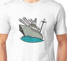 World War Two Battleship Cartoon Unisex T-Shirt