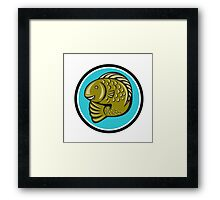 Trout Fish Jumping Circle Cartoon  Framed Print