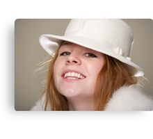 Redhead smiling in white felt hat and fur Canvas Print