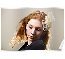 Redhead in cream fascinator and black top Poster