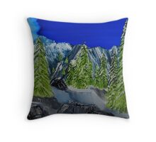Snow Covered Trees in Rocky Mountain Pass Throw Pillow