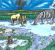 Zebra at the Waterhole by TadHuck
