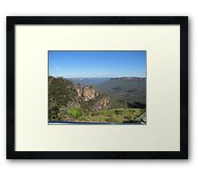 The Three Sisters and the Jamison Valley Framed Print
