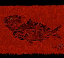 Gyotaku Scup Series 2  Red Unryu Paper by IslandFishPrint