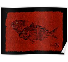 Gyotaku Scup Series 2  Red Unryu Paper Poster