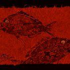 Gyotaku Scup Series 1  Red Unryu Paper by IslandFishPrint