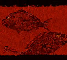 Gyotaku Scup Series 1  Red Unryu Paper by IslandFishPrint