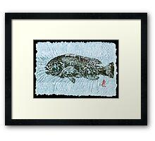 Gyotaku Tautog on Rice Paper w Black Border Framed Print