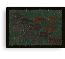 Bluegills on Charcoal Unryu Paper Canvas Print