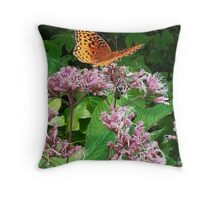 Butterfly on Pink Weeds Throw Pillow
