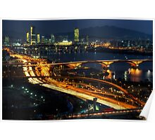 Night traffic over seoul Poster