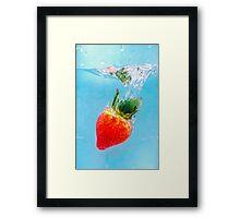 Diving Strawberry Framed Print