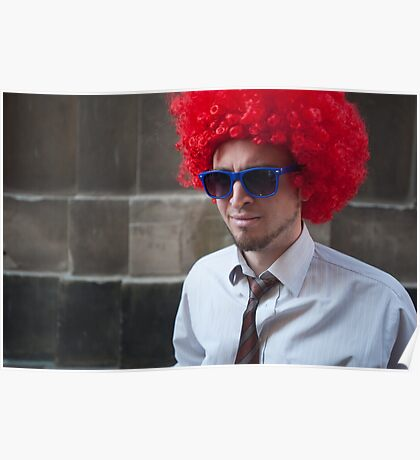 Red Hair and Blue Glasses Poster