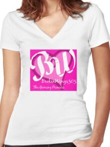 BrokenWings303 Logo Women's Fitted V-Neck T-Shirt