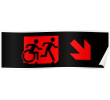 Accessible Means of Egress Icon and Running Man Emergency Exit Sign, Right Hand Diagonally Down Arrow Poster
