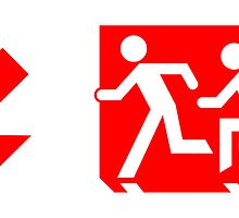 Accessible Means of Egress Icon and Running Man Emergency Exit Sign, Left Hand Diagonally Down Arrow by Egress Group Pty Ltd