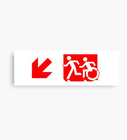 Accessible Means of Egress Icon and Running Man Emergency Exit Sign, Left Hand Diagonally Down Arrow Canvas Print