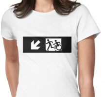 Accessible Means of Egress Icon and Running Man Emergency Exit Sign, Left Hand Diagonally Down Arrow Womens Fitted T-Shirt