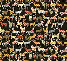 deer horse ikat party by Sharon Turner